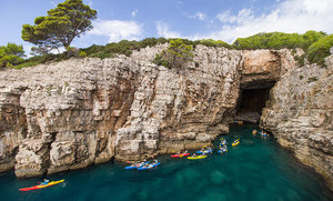 kayaks in sea cave Croatia