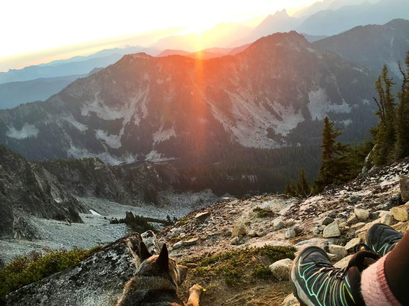 salomon lightweight women's hiking boots on a mountain trail