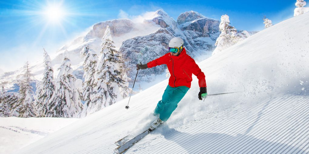skiing with helmet