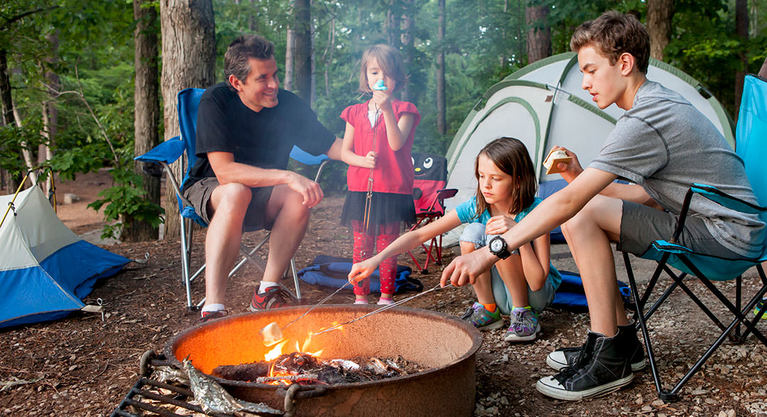 dad camping with kids