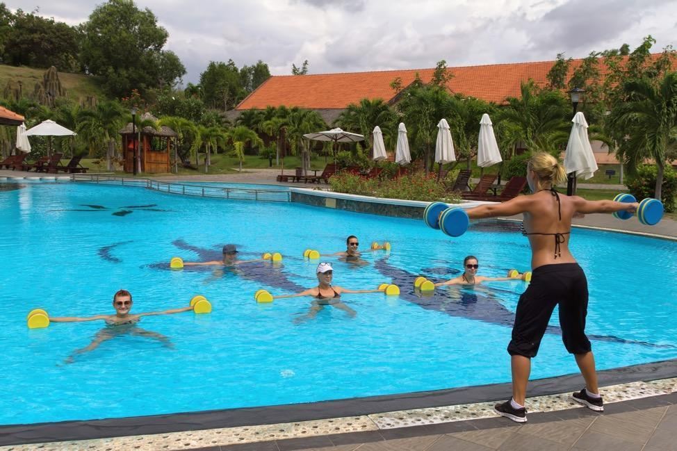 water aerobics class with weights
