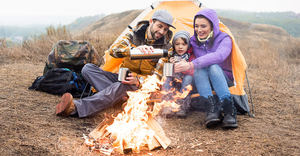 family camping with tent