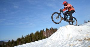 downhill mountain biking in snow