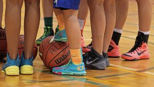 basketball shoes in gym