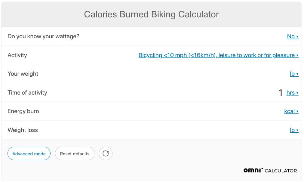 bike calorie calculator
