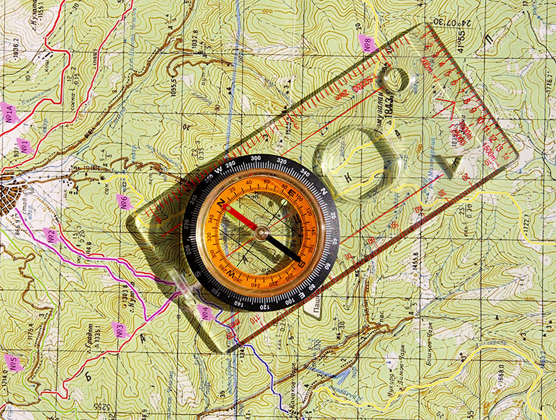 compass and topo map