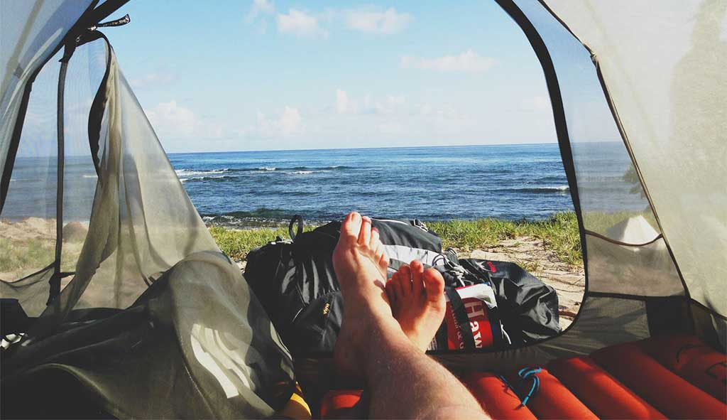 beach camping view