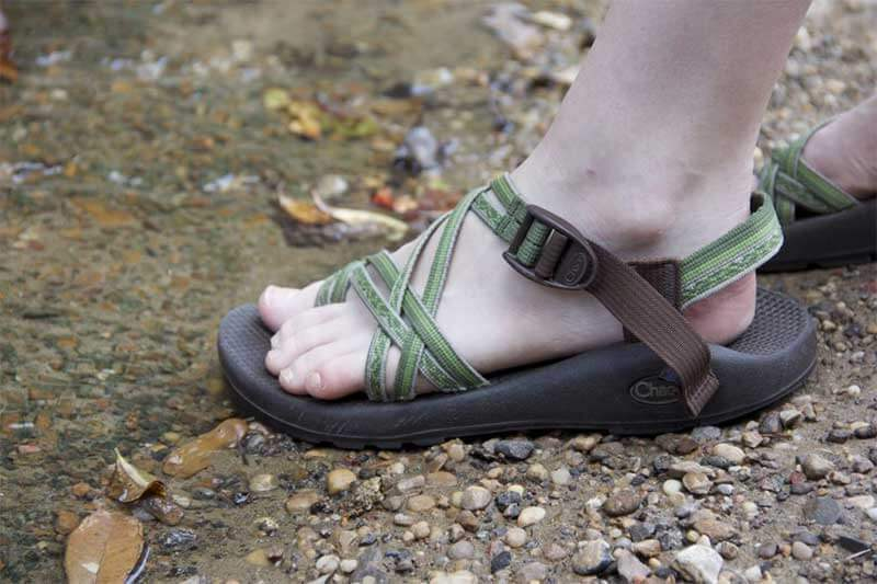chaco sandals in stream