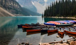 canoes in lake