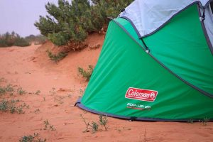 coleman pop-up tent in outback
