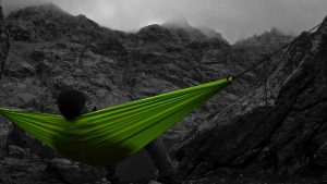 hammock camping in foggy outdoors