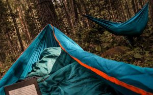 two camping hammocks in the forest