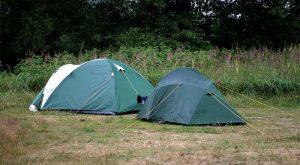 two tents in a field