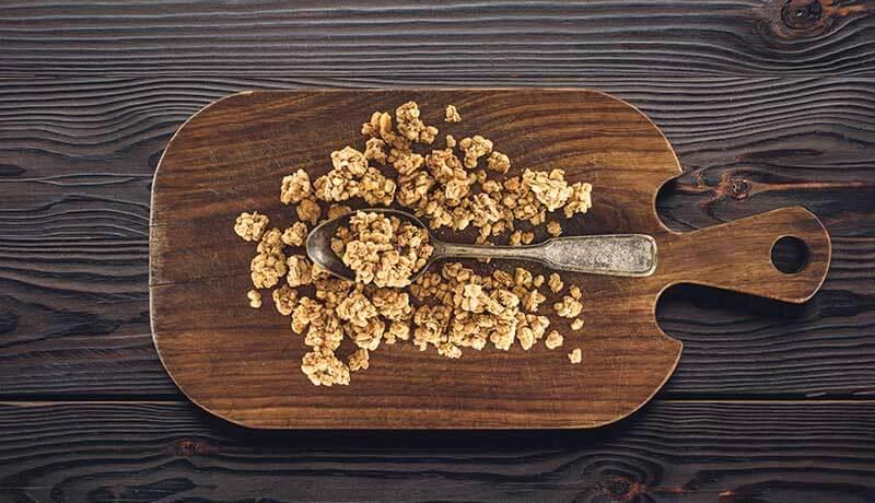 crunch granola on cutting board