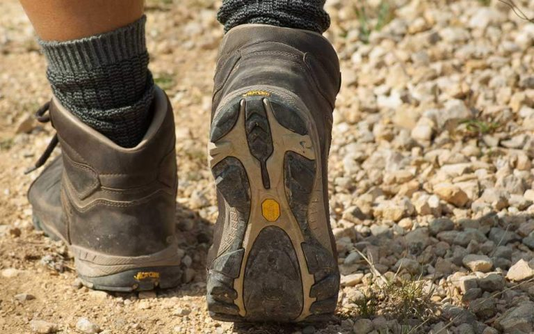 walking in hiking boots