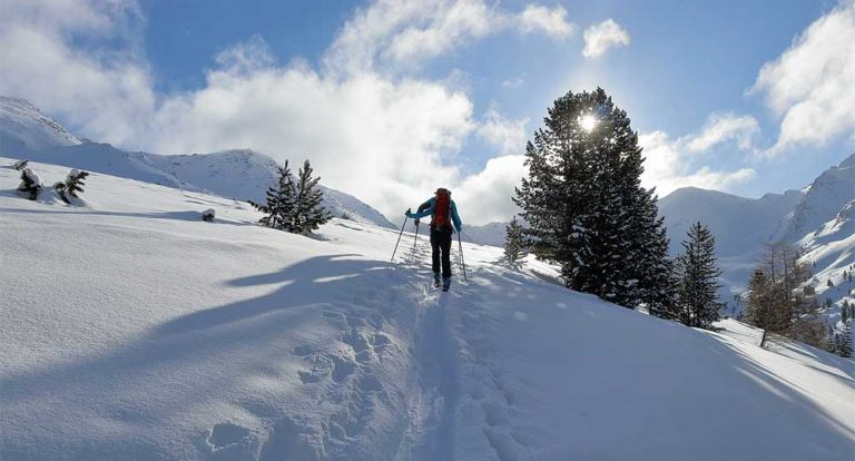 person backcountry skiing in sun