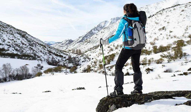 woman winter hiking