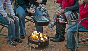 camping with portable fire pit