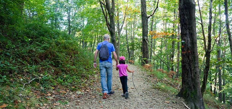 father daughter in forest