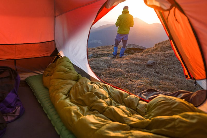 sleeping pad in tent