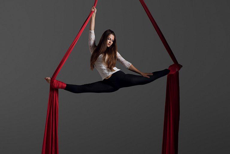 woman on aerial silks