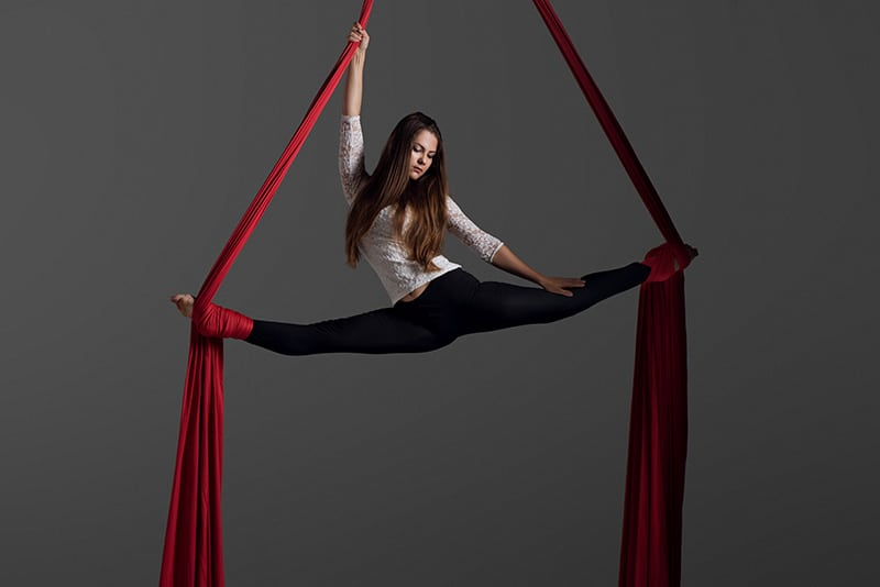 woman on aerial silks