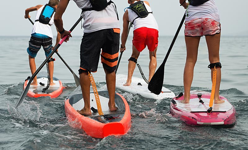 group of paddle boarders