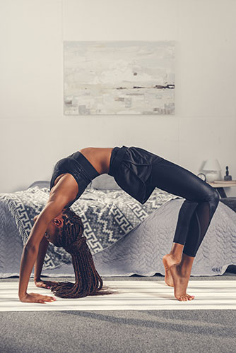 yoga in bedroom