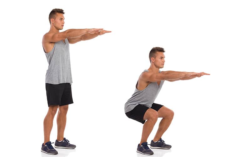guy showing proper squats form