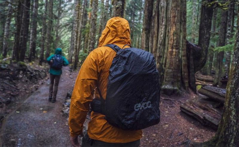 hiking in the rain