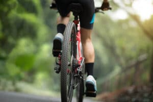 mountain bike on road