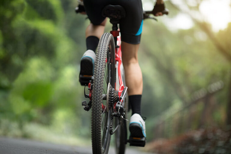mountain bike on road
