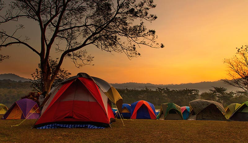 camping tents in field