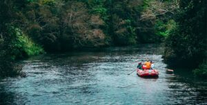 people in inflatable boat