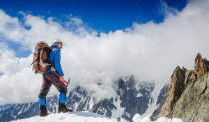 mountaineer on mountain top