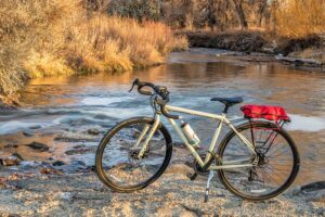 bike with kickstand by stream