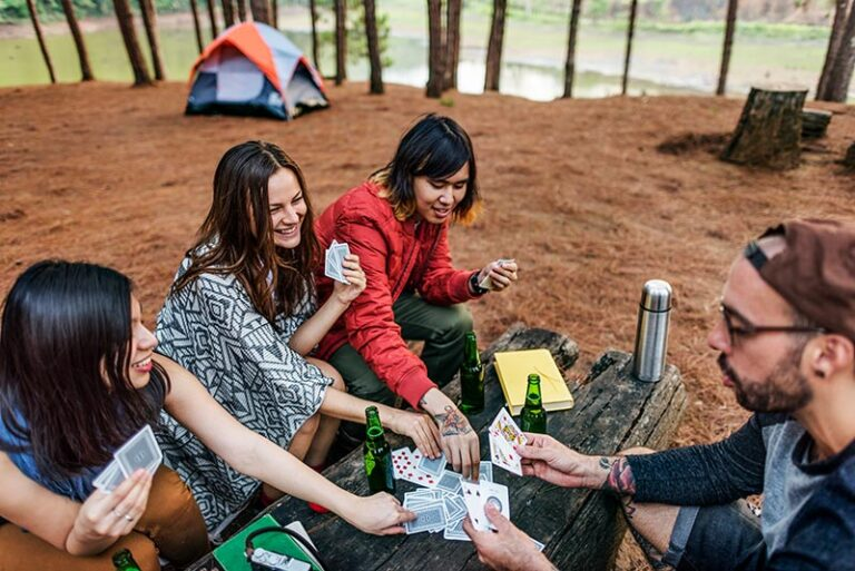 playing cards while camping
