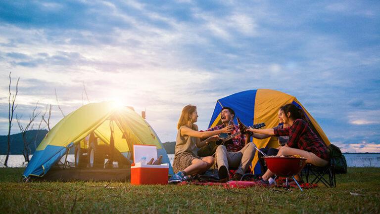 people enjoying camping