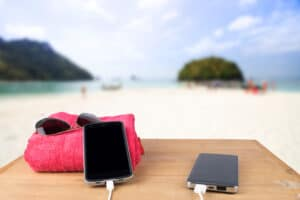 power bank at the beach