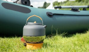 camp stove with kettle