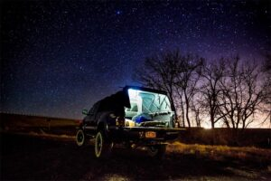 truck bed camping night