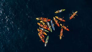 group of kayakers in sea