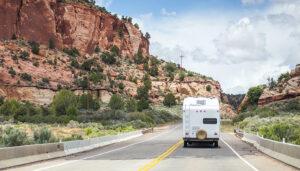 rv on desert highway