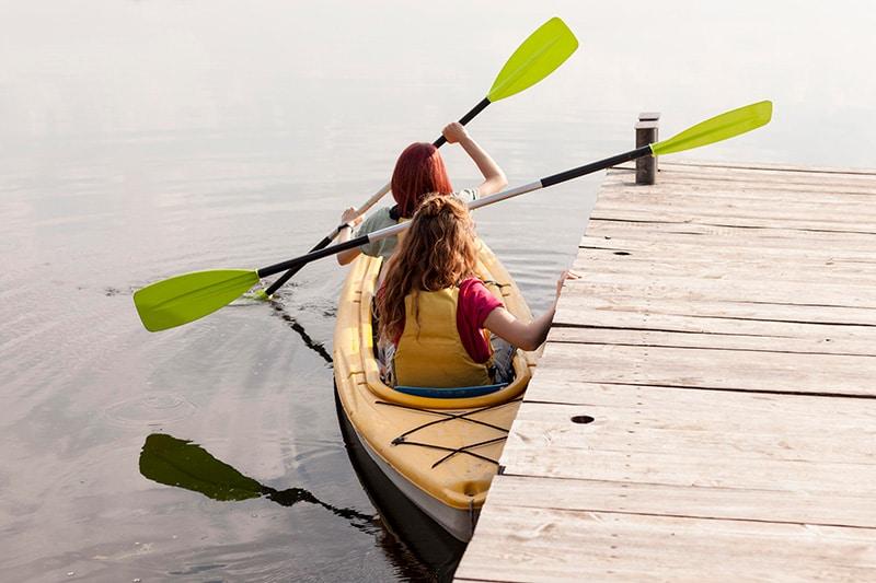 two women in a kayak