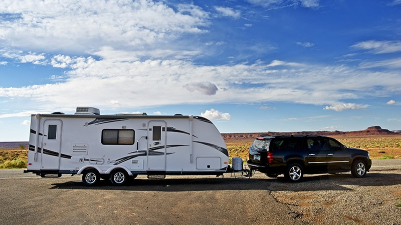 suv towing a camper