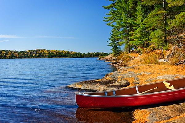 canoe on shore