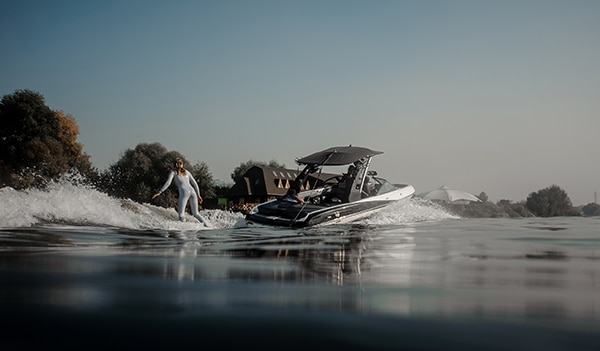 wakeboarding behind boat