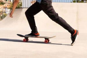 closeup of guy on skateboard