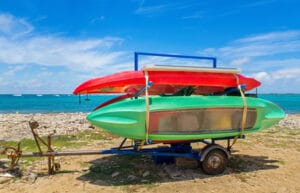 kayaks on trailer