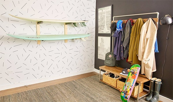 surfboards on wall rack